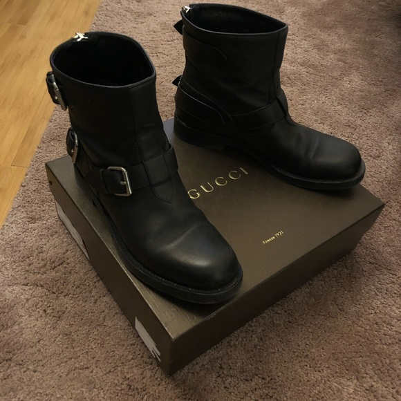 Authentic Gucci Leather Moto Boots